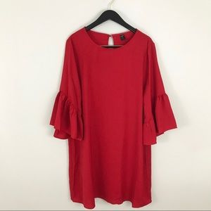SHEIN Plus Size 0XL Dress Red Ruffle Sleeves Cuffs